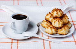 Coconut cookies and coffee Royalty Free Stock Photo