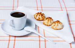 Coconut cookies and coffee Royalty Free Stock Photography
