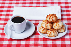 Coconut cookies with coffee Stock Photo