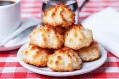 Coconut cookies with coffee Royalty Free Stock Images