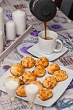 Coconut cookies with malibu drink and coffee Royalty Free Stock Photos