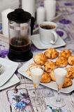 Coconut cookies with malibu drink and coffee Stock Photo