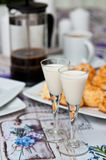 Coconut cookies with malibu drink and coffee Stock Images