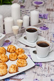 Coconut cookies with malibu drink and coffee Stock Photos