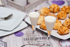 Coconut cookies with malibu drink still life Royalty Free Stock Photo