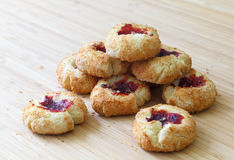 Coconut Cookies with Raspberry Jam Filling royalty free stock image