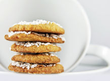 Coconut Cookies and White Coffee Setting Royalty Free Stock Images