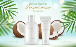 Coconut cosmetic. Advertizing poster with cream tubes and fresh coco and natural body milk splashes vector realistic. Illustration of lotion plant coconut vector illustration