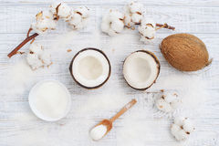 Coconut and cotton flowers Royalty Free Stock Photography
