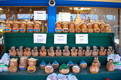 Coconut Crafts. Display of coconut carvings and art souvenirs for tourists in Florida at roadside stand Stock Photo