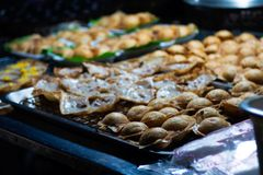Coconut cream cakes a Thai dessert of thai street food stock photography