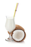 Coconut cream cocktail and coconuts royalty free stock image
