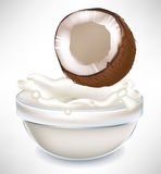 Coconut and creamy milk splash in bowl Stock Images