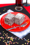 Coconut cubes. Two slices coconut cubes from Hungary Stock Image