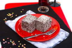 Coconut cubes. Two slices coconut cubes from Hungary Royalty Free Stock Photography