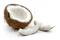 Coconut. Cut in half on white background royalty free stock image