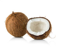 Coconut cut in half on white Stock Photography