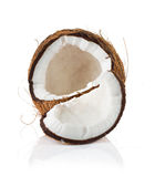Coconut cut in half on white Stock Photos