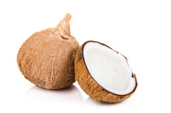coconut cut in half on white background Stock Images