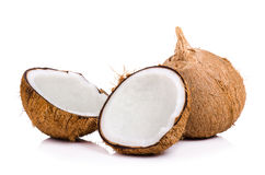 coconut cut in half on white background Royalty Free Stock Images