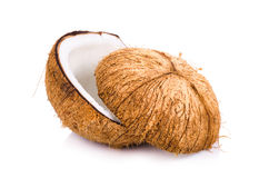 coconut cut in half on white background Stock Photos