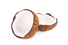 coconut cut in half on white background Royalty Free Stock Photo