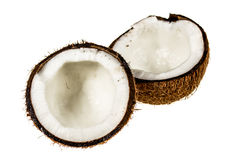 Coconut cut in half on white background Royalty Free Stock Photography