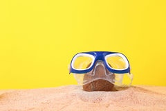 Coconut in dive mask. Whole coconut in dive mask on sand royalty free stock image