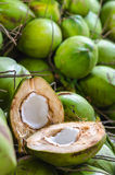 Coconut divided in half on a heap of coconuts. Royalty Free Stock Image