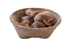 Coconut and dried coconut shell In the old wood basket. isolated on white background Stock Image