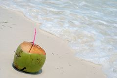 Coconut drink on beach. Fresh tropic cocktail on sandy beach Royalty Free Stock Photo