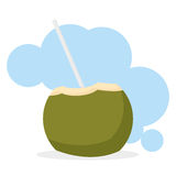 Coconut Drink Cartoon Illustration Editable With Background Stock Photography
