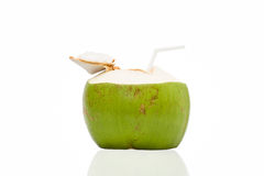 Coconut Drink. Fresh Coconut Water Drink on white background Royalty Free Stock Photography