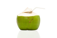Coconut drink. Fresh Coconut Water Drink on white background stock image