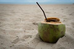 Coconut drink relax rest holiday beach sand ocean. Coconut drink relax rest holiday beach sand Royalty Free Stock Photos