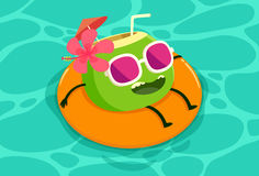 Coconut drink relaxing in the pool Royalty Free Stock Photo