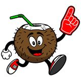 Coconut Drink Running with Foam Finger Royalty Free Stock Image