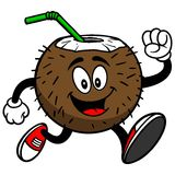 Coconut Drink Running with Foam Finger Royalty Free Stock Images
