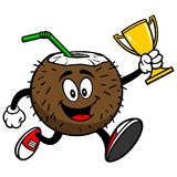 Coconut Drink Running with Trophy. Vector illustration of a Coconut Drink Running with a Trophy Stock Image