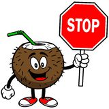 Coconut Drink with Stop Sign Royalty Free Stock Photo