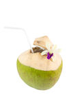 Coconut drink. With a straws isolated on white background Stock Photography