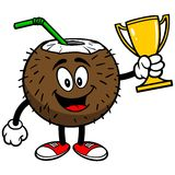 Coconut Drink with Trophy Royalty Free Stock Image
