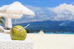 Coconut drink on tropical beach Stock Image