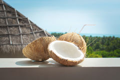 Coconut drink and tropical view Royalty Free Stock Photo