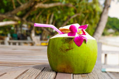 Coconut drink. On the wooden table Stock Images