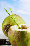Coconut with drinking straw Stock Photography