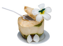Coconut with drinking straw Stock Photos