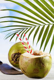 Coconut with drinking straws, old cleaver Stock Photo