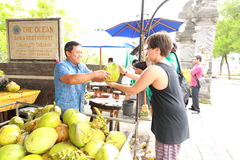 Coconut drinks seller Bali Indonasia Stock Images