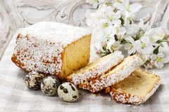 Coconut easter cake and quail eggs Royalty Free Stock Photo